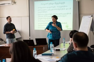 Ruth Sylvester delivers a lecture on Good Manufacturing Practices (GMPs) and Basic Quality in blood banking at the Georgian NCDC.