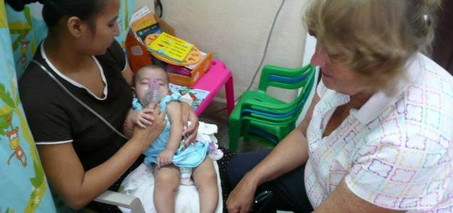 Alice doing Aerosal therapy Roatan